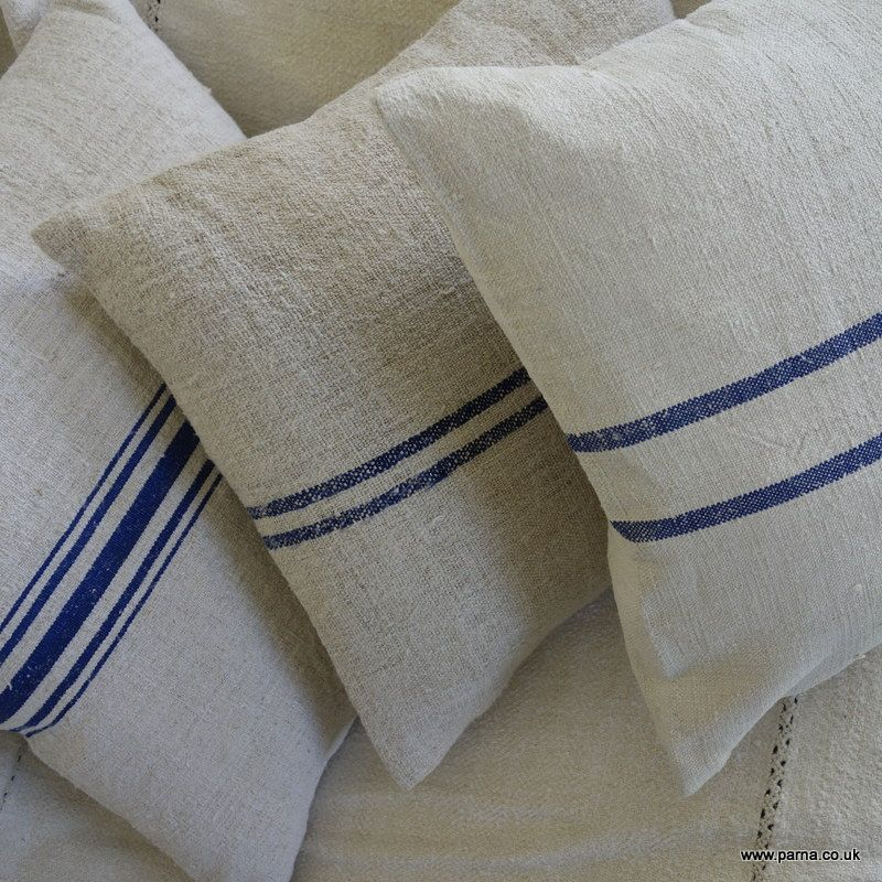 Blue vintage linen cushions. Click to view all