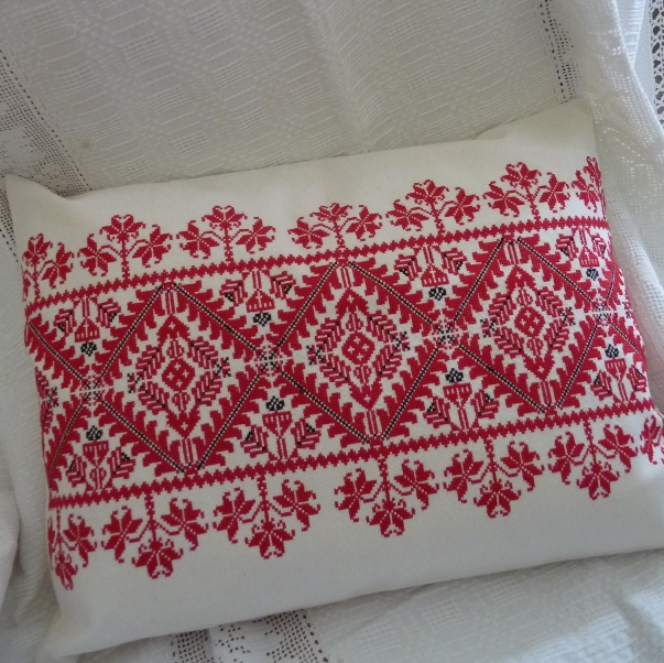 Hand Embroidered Cross Stitch Cushion (55 X 40cm)