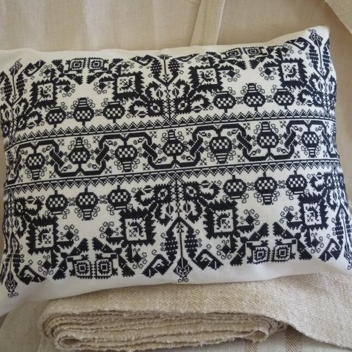 Hand Embroidered Cross Stitch Cushion Cover Black 58 X40