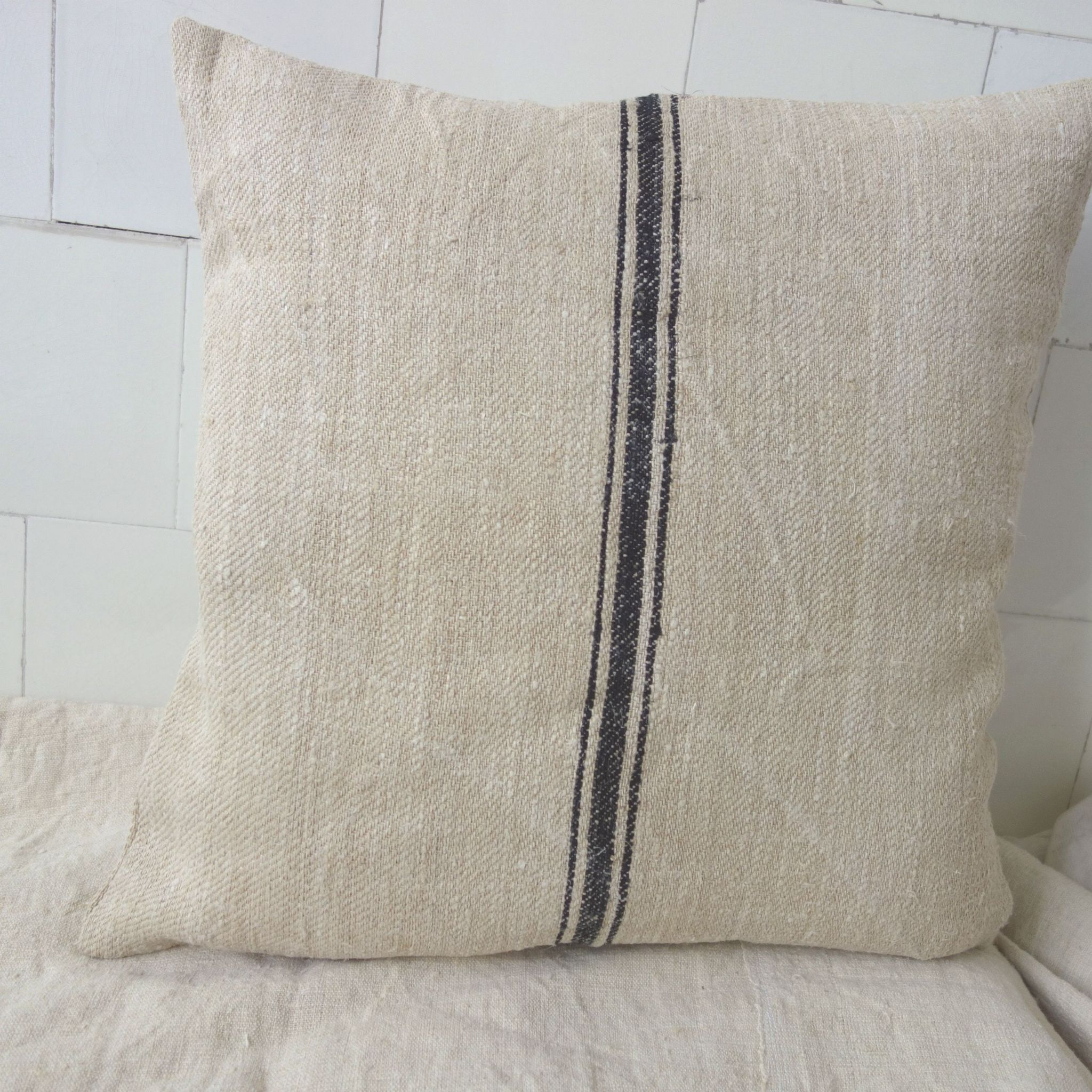 Vintage Linen Cushion Cover From Grain Sack Parna